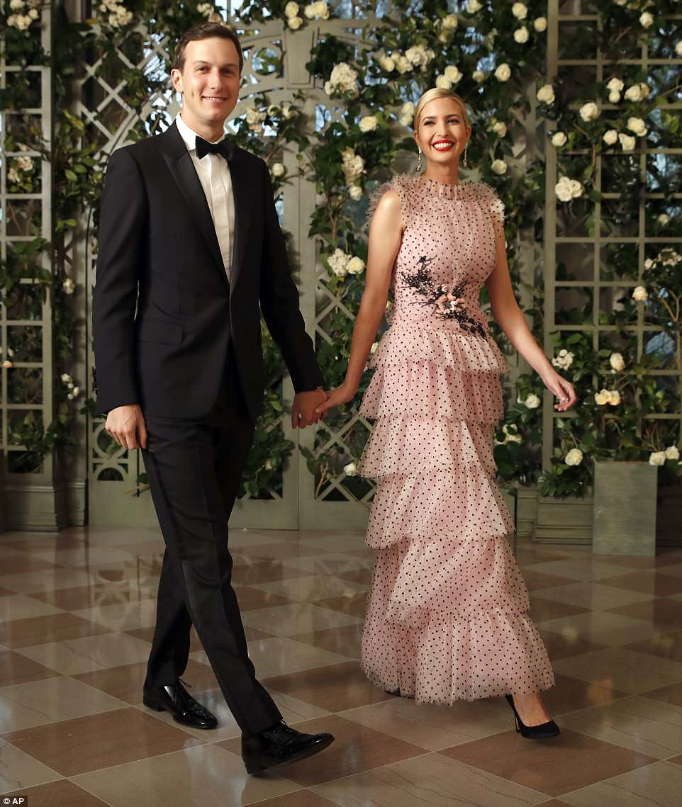 First daughter Ivanka Trump and husband Jared Kushner arrived at the White House state dinner on Tuesday nighthonoring French President Emmanuel Macron.Ivanka wore a $13,686 pink tulle Rodarte gown for the occasion