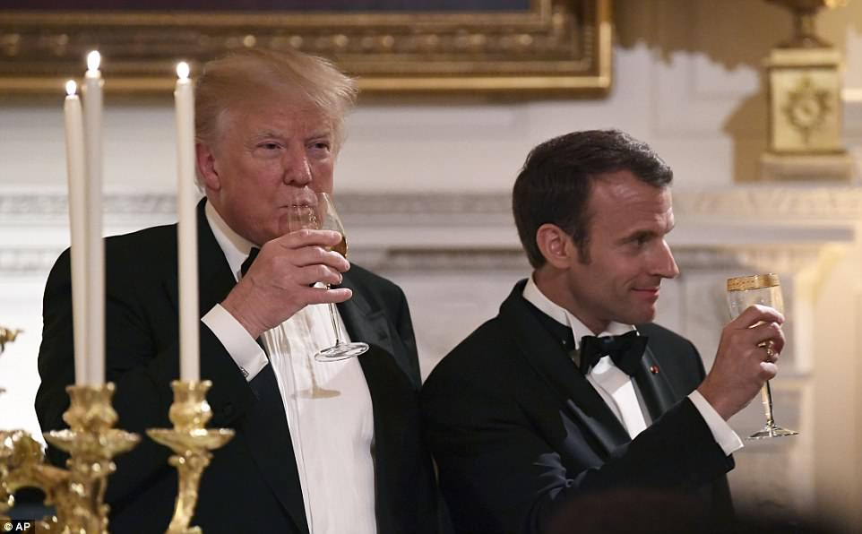 Trump and Macron toasted during the state dinner to continued warm relations between their countries