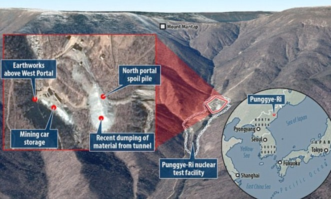 A map showingthe atomic facility at Punggye-ri and piles of dumped material that show the construction of a tunnel, where dozens of workers are thought to have died after the structure collapsed