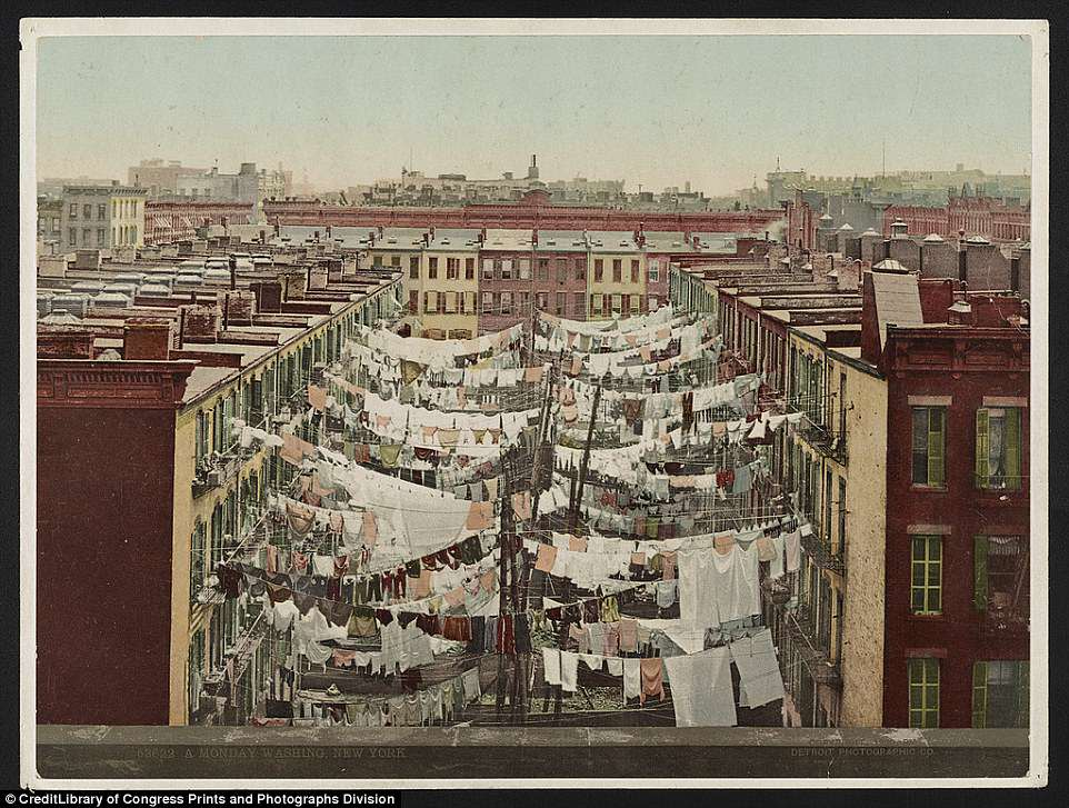 This image taken by the Detroit Publishing Company shows residents of New York City hanging laundry on clotheslines sometime around 1900