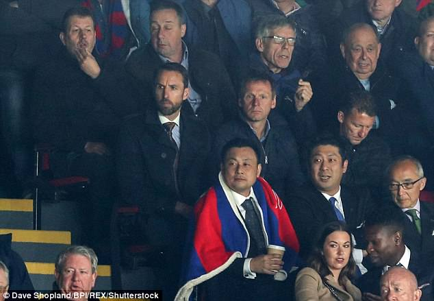 England manager Gareth Southgate watched the game from the stands at Selhurst Park