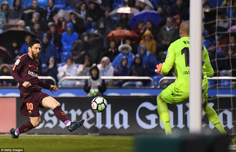 Messi doubled Barcelona's advantage with a well-taken volley at the back post with 38 minutes on the clock on Sunday