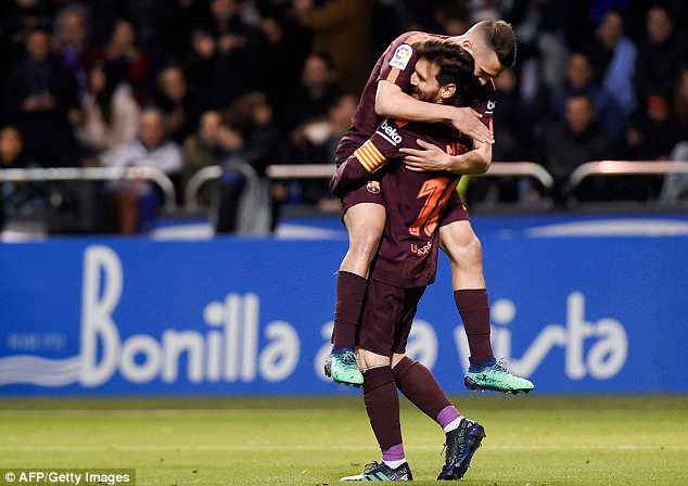Lionel Messi inspired a 4-2 win over Deportivo to ensure Barcelona won the league title