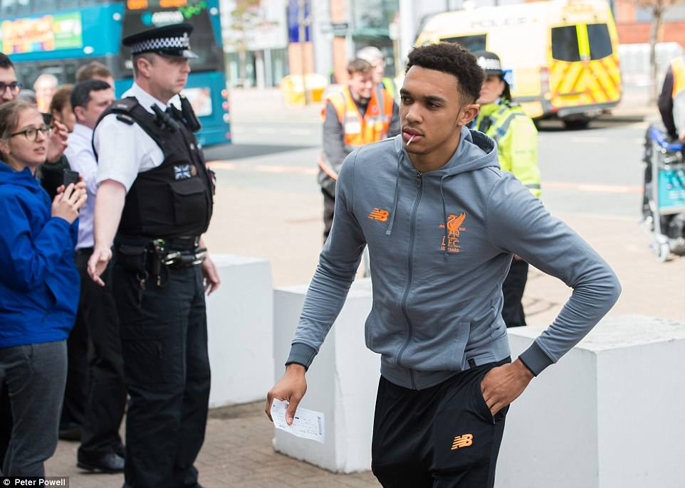 Liverpool's 19-year-old full back Trent Alexander-Arnold, who had a minor fitness concern, travels with the squad to Rome