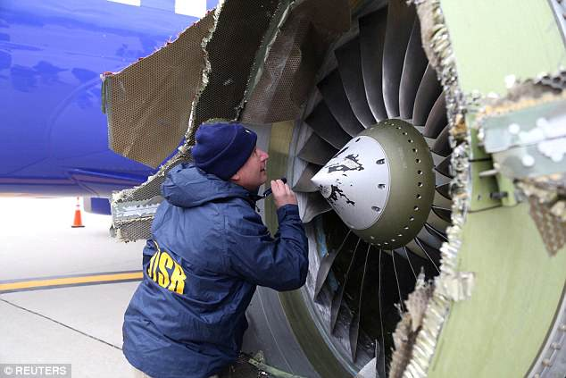 The April 17 incident has been blamed on a faulty fan blade. After the incident, Southwest pledged to evaluate all of the engines provided to them by the same French company that manufactured the faulty blade. Above, the engine that exploded last month