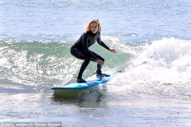 Margot Robbie Surfs In Malibu Daily Mail Online