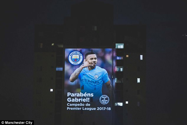 Gabriel Jesus's image was shown above his first football pitch in Jardim Peri favela, Sao Paulo