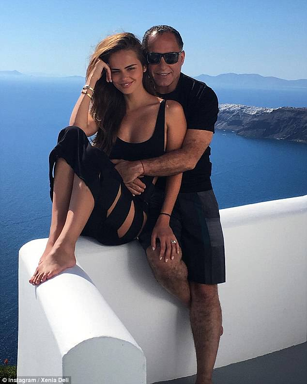 The newlyweds then enjoyed a few days in the sun on Santorini (pictured), before jetting off to Switzerland, where her parents - closer in age to Xenia's husband - live.