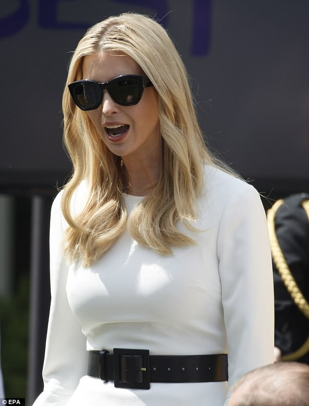 Melania's stepdaughter Ivanka Trump attended the event wearing a white bell-sleeve top