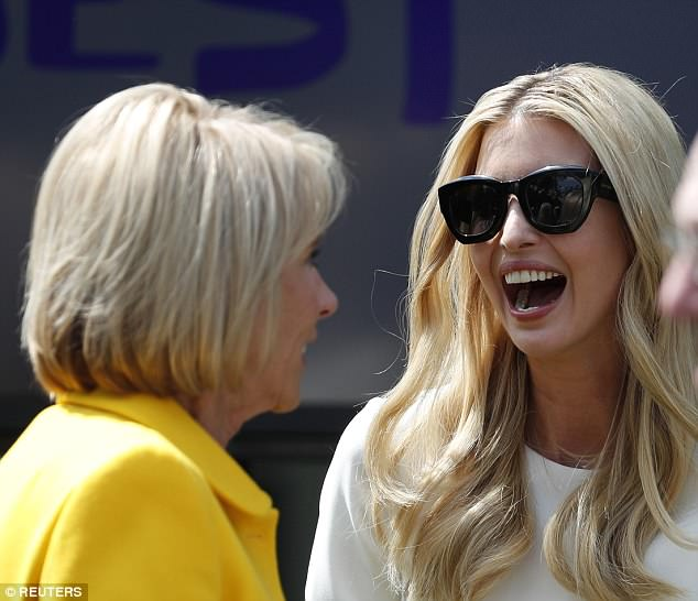 Ivanka appeared to be laughing at something that was said during the chat
