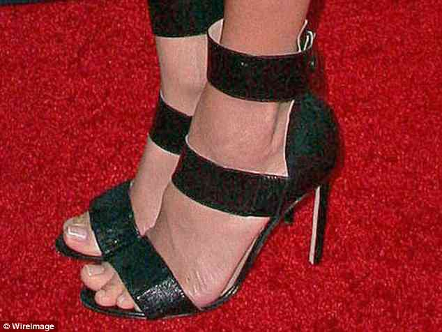 Strapped in: Accentuating the ankle on the red carpet at an NBC Universal press tour in California in January 2014