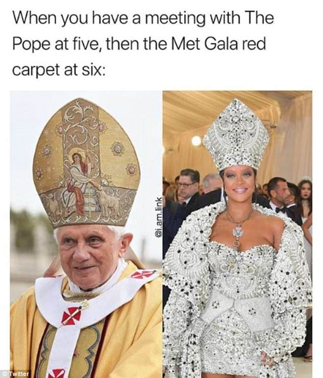 Teasing: Meanwhile other fans took it in their stride to joke about Rihanna's papal-inspired look for the soiree