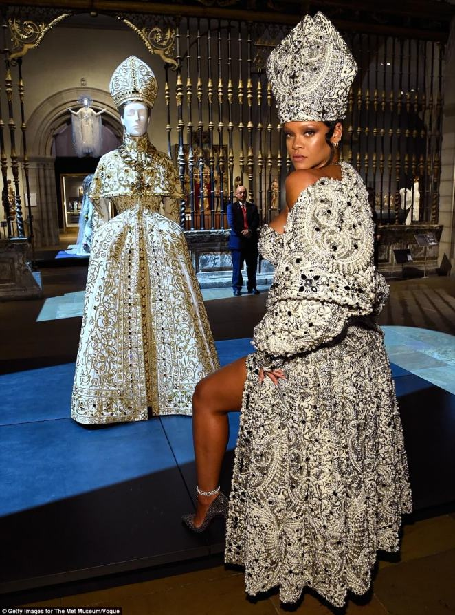 Inspiration: Rihanna's hat was a fashion take on a mitre, a hat known as the traditional head-dress of bishops and abbots in Christianity. Mitres are worn in the Roman Catholic Church, Orthodox Church, Lutheran churches, Anglican Communion and other denominations