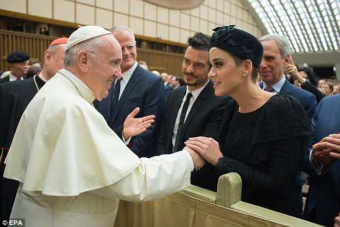 Katy Perry (and Orlando Bloom) met with Pope Francis at a Vatican conference in Rome on April 28 - just over a week before her appearance in angelic attire