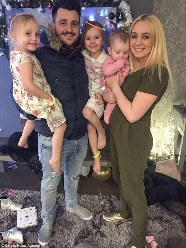 Carys wasn't even able to enjoy a family BBQ in the soaring heat this bank holiday weekend - because of an allergy to ketchup, smeared on burgers and hot dogs (pictured Carys, four, father Liam, 30, sisters Amelia five, and Phoebe nine-months-old and mother, Sophie 25)
