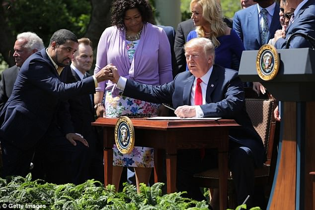 Trump had been said to be 'totally 100 percent for it' by an outside adviser, Pastor Darrell Scott. 'Now we're just dotting the i's crossing the t's getting the logistics in place,' Scott said Thursday after an Oval Office meeting with Trump