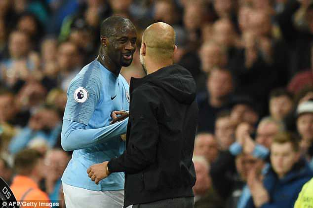 His team-mates wanted to congratulate a legend and boss Pep Guardiola gave him a hug