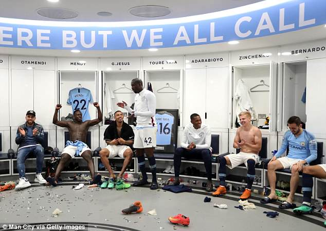 Toure spoke to his team-mates after the Premier League match in the dressing room