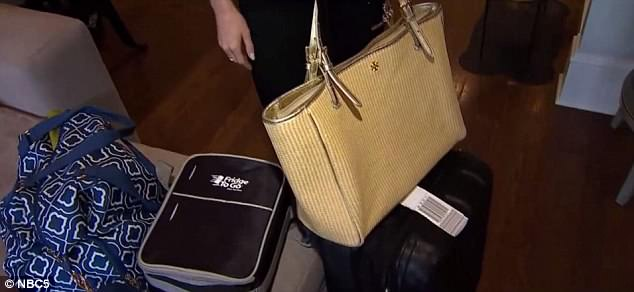 Above shows Myers' luggage. She had been holding a carry-on, a personal item and equipment for breastfeeding