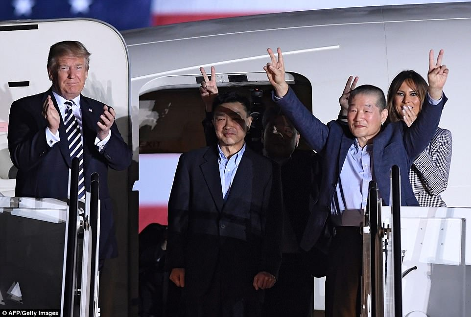 Donald Trump and Melania welcomed three Americans imprisoned in North Korea back to America to cheers and applause