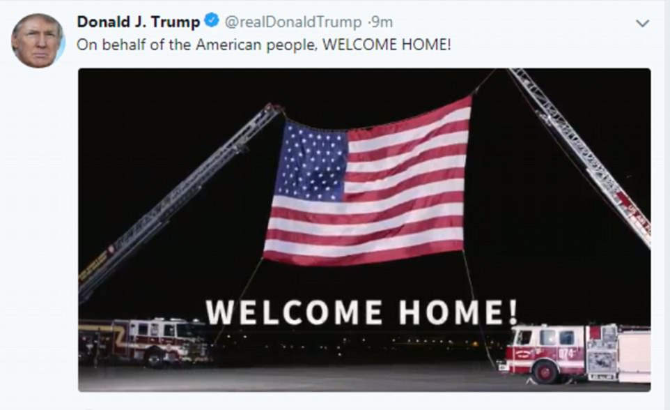 President Donald Trump tweeted after the reception to say: 'On behalf of the American people, WELCOME HOME!' A video showing the welcome was attached