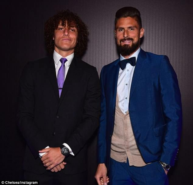 David Luiz (left) and striker Olivier Giroud (right) dress to impress on Thursday evening