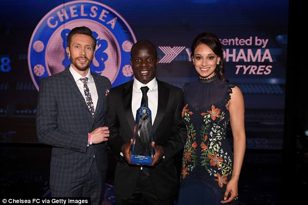 N'Golo Kante (centre) was voted as Chelsea's 'Player of the Year' on Thursday evening