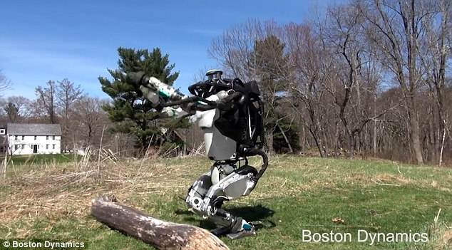 According to Boston Dynamics, Atlas is a: 'high mobility, humanoid robot designed to negotiate outdoor, rough terrain.' This image shows it about to leap