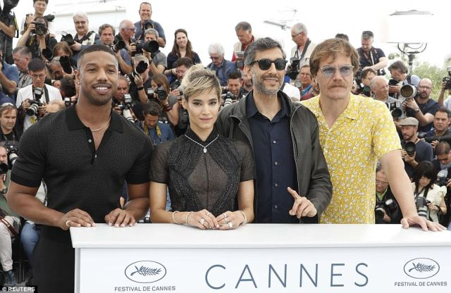 Cast: The three actors then posed with director of the new film Ramin Bahrani, 43