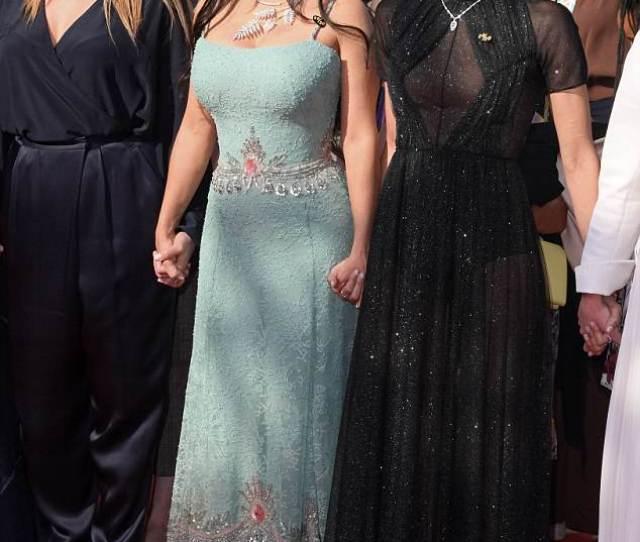 Taking A Stand Salma Hayek  Looked A Dream In A Shimmering Blue