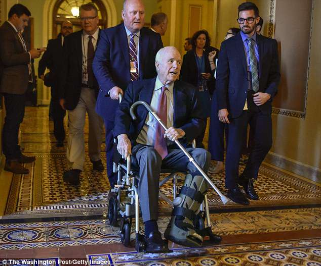 Trump remains upset with McCain over his opposition to Gina Haspel's nomination as CIA director as well as his decisive vote last year to sink the Republican-led effort to repeal Obamacare. McCain is seen last December after undergoing surgery