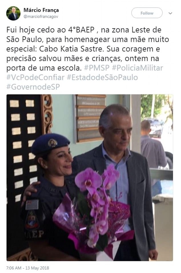 Speaking of Officer Sastre's heroic act the Governor said: 'Her courage and precision saved mothers and children, yesterday at the door of a school'