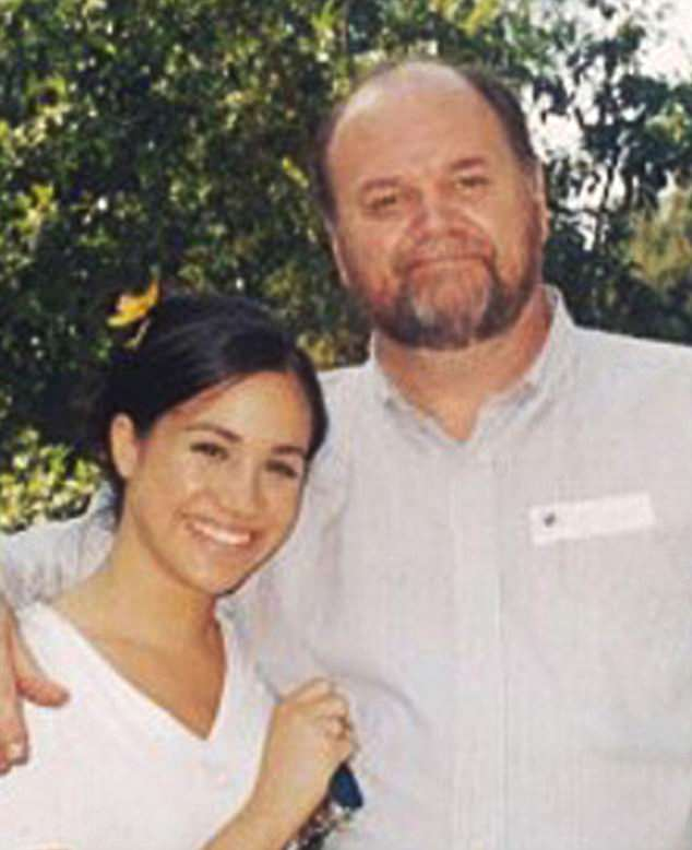 Meghan Markle (pictured left) pleaded with her father Thomas Markle (pictured right) to walk her down the aisle after he apparently pulled out of Saturday's wedding