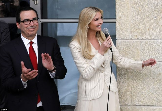 The day of bloodshed came as America opened its new embassy in Jerusalem, months after US President Donald Trump recognised the city as Israel's capital. Trump's daughter Ivanka is pictured at the ceremony alongsideUS Treasury Secretary Steven Mnuchin