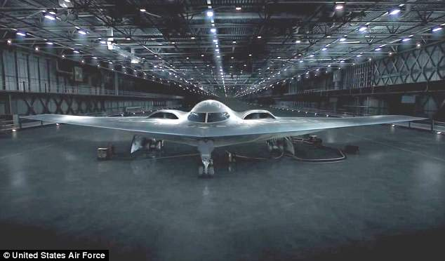 The cliffhanger at the end of the Chinese video video that bore a striking resemblance to the advert taken out by the US weapons manufacturer Northrop Grumman in 2015 (pictured)