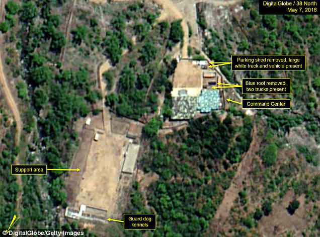 The above images show how a number of structures in the command center have been taken down