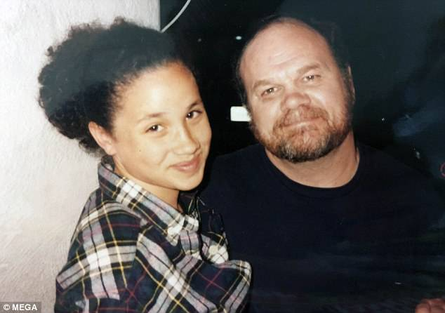 The 73-year-old said Meghan tried calling him on Monday, but he wasn't near his phone. She later sent a text saying she loved him and was concerned about his health. Pictured: The father and daughter in her teenage years