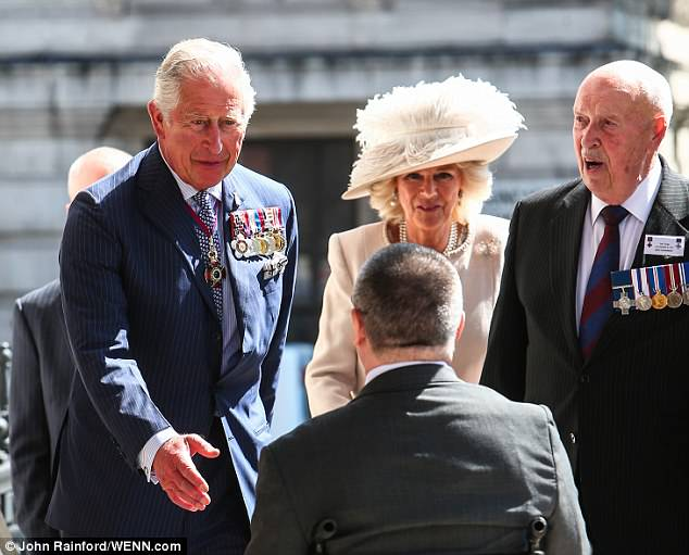 Mr Markle's ex-wife Doria Ragland is expected to meet  Prince Charles and Camilla (pictured at a service at St Martin-in-the-Fields for the Victoria Cross and George Cross Society yesterday)