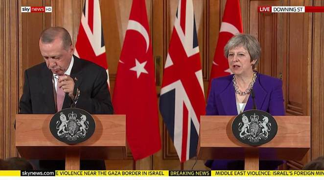 Theresa May spoke out against the 'troubling situation in Gaza' and called for an independent investigation into the killing of dozens of Palestinians in the worst clashes in the region for years at a joint press conference today with President Erdogan