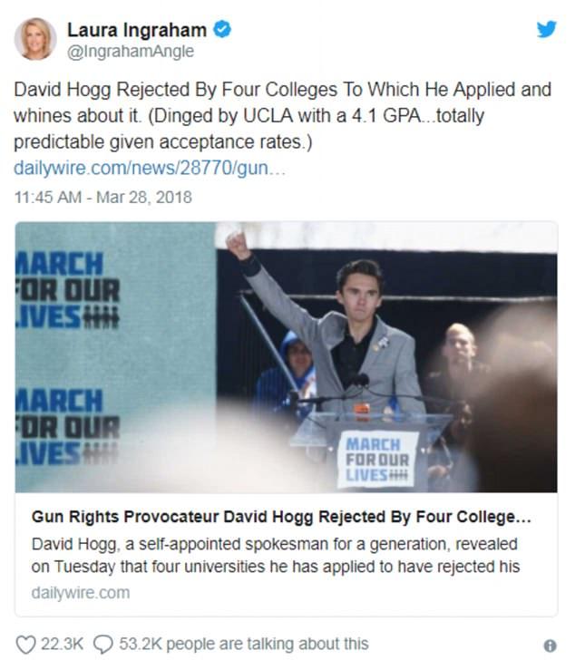 Conservative commentator Laura Ingraham mocked gun control activist and Parkland shooting survivor Hogg on Twitter after he argued for new laws