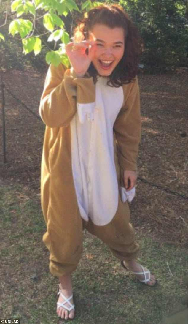 Alternative style: Brianna Ludlum, 18, from South Carolina attended her prom dressed as a sloth after her boyfriend Saulo moved away and she didn't want to attend the dance alone