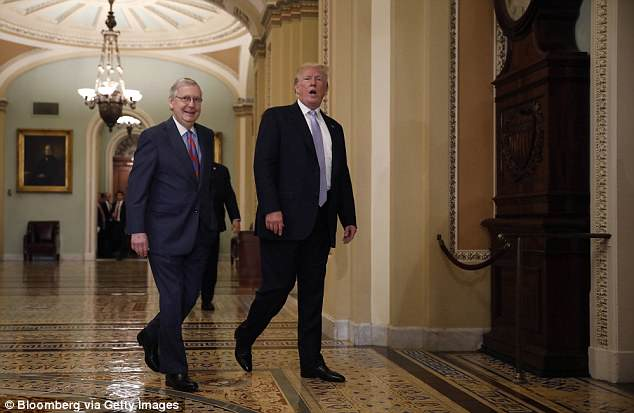 President Donald Trump, right, speaks while walking with Senate Majority Leader Mitch McConnell, a Republican from Kentucky, before attending the weekly Senate luncheons on Capitol Hill in Washington, D.C., U.S., on Tuesday, May 15, 2018