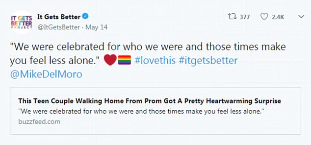 It's true! The Twitter account for the It Gets Better campaign also celebrated