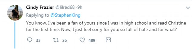 One Twitter user said she was no longer a fan of Stephen King after his remark about Melania's condition