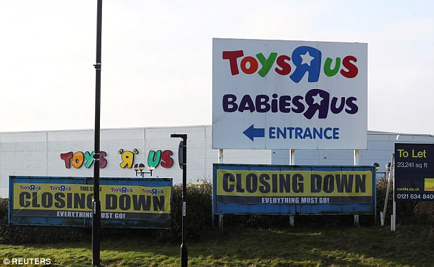 Closing down signs are seen outside the Toys R Us store in Coventry, Britain, March 13, 2018