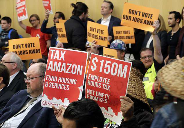 But Amazon said the city was reckless with its spending and could not be trusted with the estimated $48million the tax would bring in