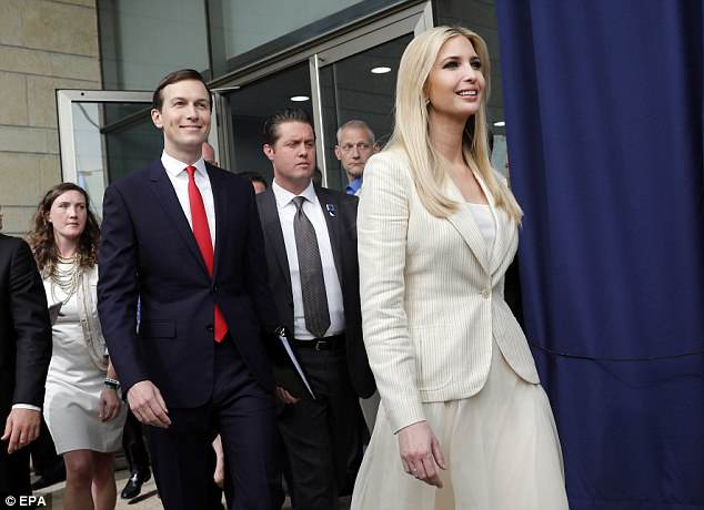 Donald Trump's daughter Ivanka (right) and husband Jared (left) joined Benjamin Netanyahu for the opening of the embassy this afternoon
