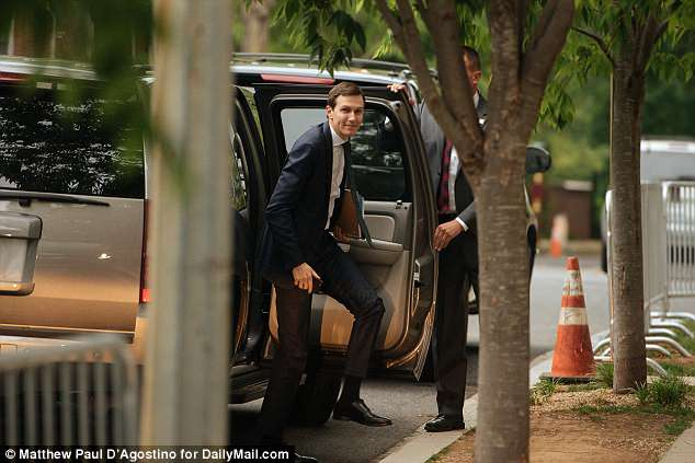 President Donald Trump's son-in-law was seen getting out of an SUV as a Secret Service agent held the door open for him