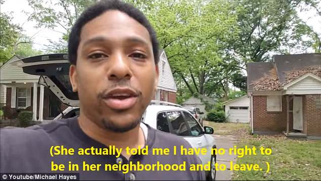 Hayes, a real estate investor, said the woman told him he didn't belong in the neighborhood and demanded he leave