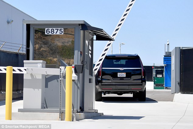 The SUV was seen using a private entrance as the mother of the bride made her way to LAX